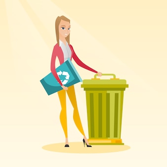 Woman with recycle bin and trash can.