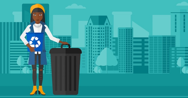 Woman with recycle bins