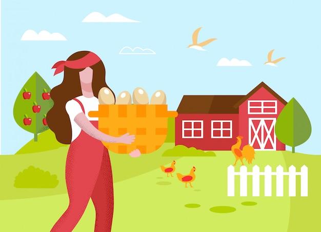 赤いハンカチを持つ女性。卵のバスケット。