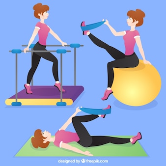 Woman with rehabilitation exercises