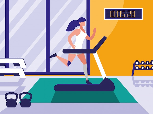 Woman with runner machine in gym