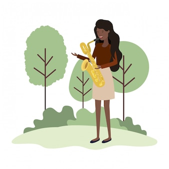 Woman with saxophone in landscape avatar character