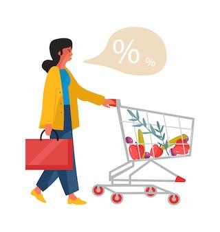 Женщина с магазинной тележкой. девушка в супермаркете ищет скидки. векторная иллюстрация изометрии мультипликационный персонаж, делающий покупки с тележкой