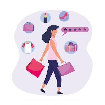 Woman with shopping bags and buy online