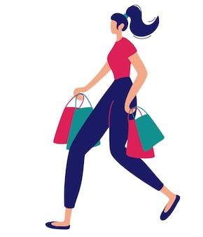Женщина с хозяйственными сумками. женский персонаж с пакетами в руках на белом фоне. продажа рекламной концепции. векторная иллюстрация плоский.