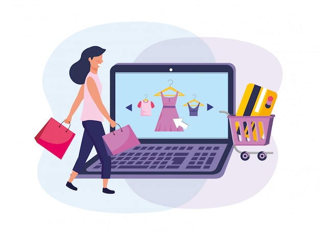 Woman with shopping bags and laptop ecommerce