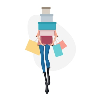 Woman with shopping bags. shopping concept illustration.