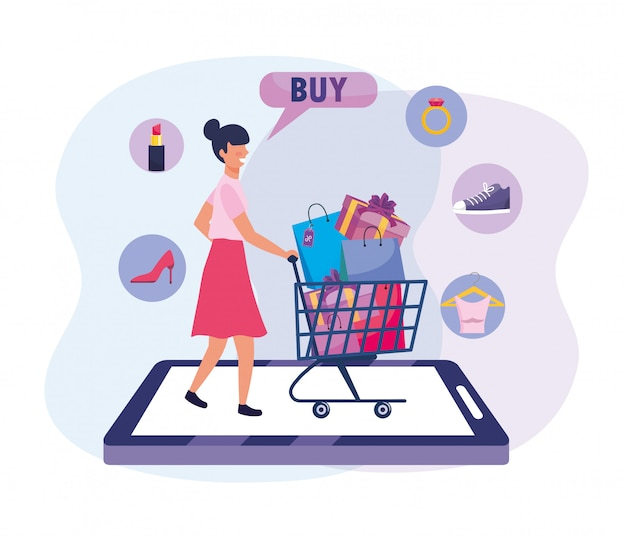 Woman with shopping cart and bags to ecommerce technology