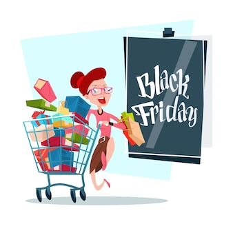 Woman with shopping cart black friday big sale banner