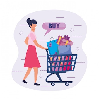 Woman with shopping cart and buy online