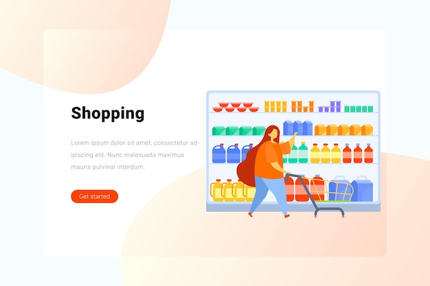 Woman with shopping cart chooses takes goods from shelf in supermarket flat illustration