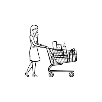 バッグでいっぱいのショッピングカートを持つ女性手描きのアウトライン落書きアイコン。小売、市場、販売、商取引の概念