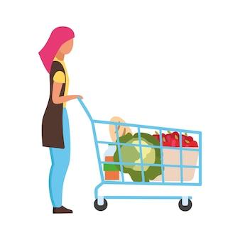 ショッピングカートのセミフラットカラーベクトル文字を持つ女性