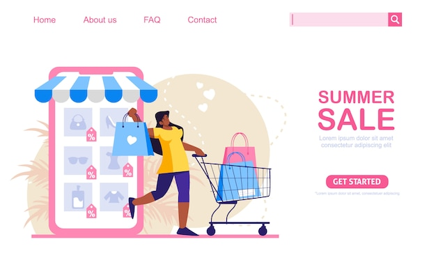 Woman with shopping trolley and bags shop at online store. mobile phone store at background. online shopping concept illustration