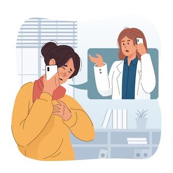 息切れの女性が医師に助けを求めています。緊急通報のコンセプト