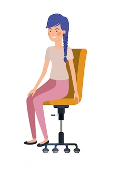 Woman with sitting in office chair avatar character