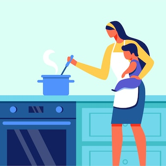 Woman with small child in arms cooking. vector.