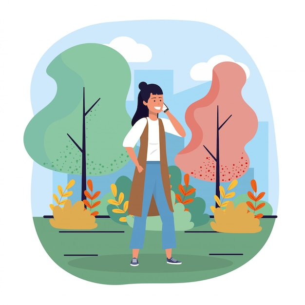 Woman with smartphone communication technology and trees