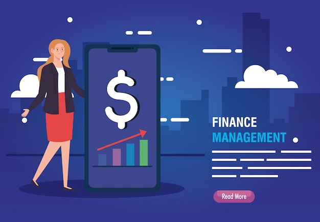 Woman with smartphone and finance management icons