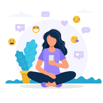 Woman with a smartphone, social media icons.