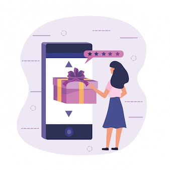 Woman with smartphone technology to electonic ecommerce