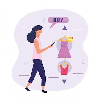 Woman with smartphone technology and shopping online