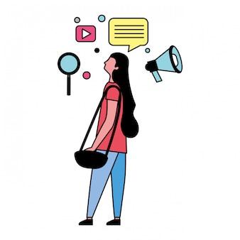 소셜 미디어 아이콘을 가진 여자
