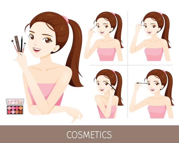 Woman with steps to apply eyes, cosmetic and equipments for paint on eyes