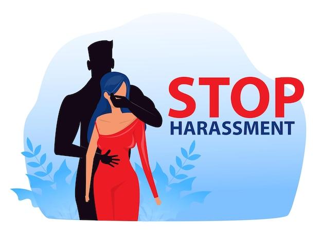 성희롱을 중지하고 학대하는 여성은 성폭력 개념 벡터 일러스트 레이 션을 사용하지 않습니다.