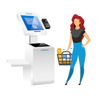 Женщина с магазинным терминалом плоский цвет безликий характер. платежная система супермаркета изолировала иллюстрацию шаржа на белой предпосылке. технология самообслуживания. технология бесконтактной оплаты