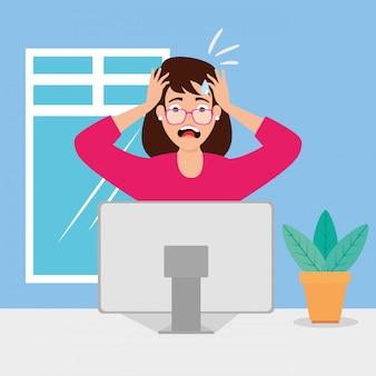Женщина с приступом стресса на рабочем месте