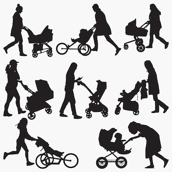 Woman with stroller silhouettes