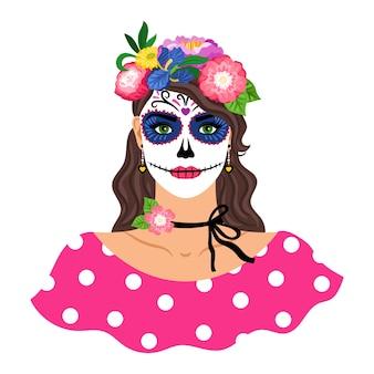 砂糖の頭蓋骨を持つ女性がイラストを構成します。白で隔離の花の花輪を持つ少女。 dia de losmuertosホリデーカーニバル。メキシコのカトリーナメイクの女性キャラクター