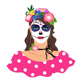 Woman with sugar skull make up illustration. girl with flowers wreath isolated on white. dia de los muertos holiday carnival. female character with mexican catrina makeup