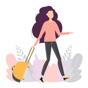 Женщина с чемоданом. девушка-путешественница. счастливая девушка идет с багажом. плоский стиль.