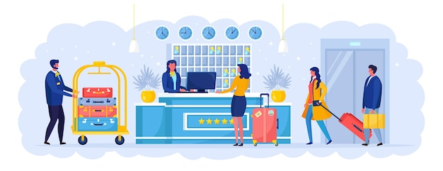 Woman with suitcases is standing at reception desk. check into hotel. receptionist welcomes the guest.