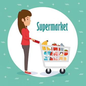 Woman with supermarket groceries