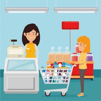 スーパーマーケットの食料品を持つ女性 無料ベクター