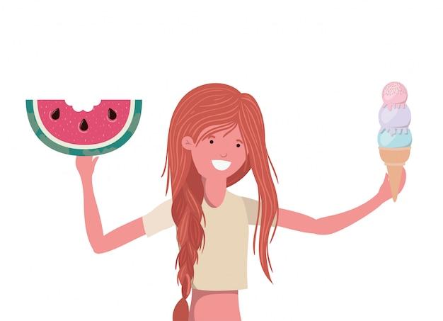 Женщина с купальником и порцией арбуза в руке Бесплатные векторы