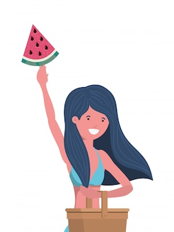 Woman with swimsuit and portion of watermelon in hand