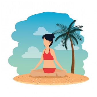 Woman with swimsuit practicing yoga on the beach