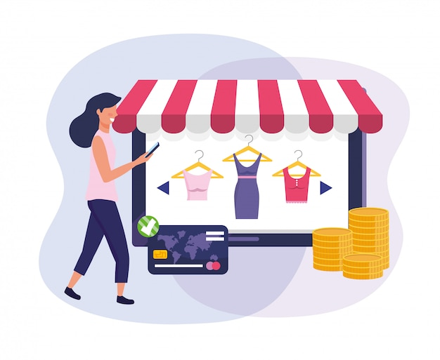Woman with tablet ecommerce and credit card to shopping