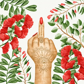 Woman with tattoos showing the fuck you symbol
