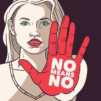 Donna con testo sul suo pro concetto di diritti civili della mano