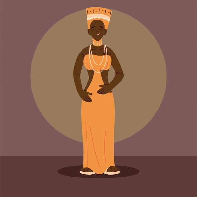 アフリカの伝統的な民族衣装の女性