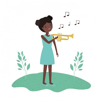 Woman with trumpet in landscape avatar character