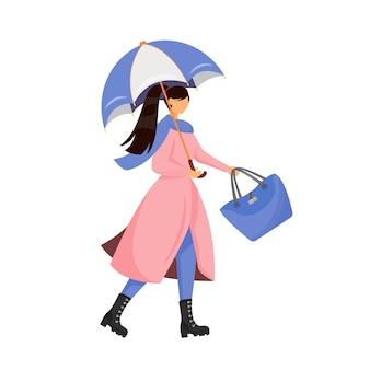 Женщина с зонтиком плоский цвет безликий характер. женская мода на осенний сезон. человек в плаще и сапогах. модная повседневная осенняя одежда. дождь осенняя погода изолированных иллюстрация шаржа