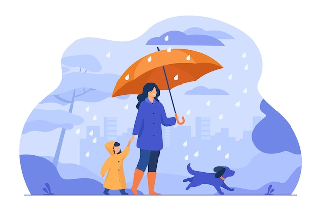 Woman with umbrella, girl in raincoat and dog walking in rain in city park. vector illustration for family activity, bad weather, downpour concept