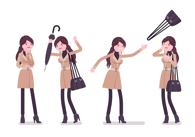 秋の服のイラストを身に着けている傘の否定的な感情を持つ女性