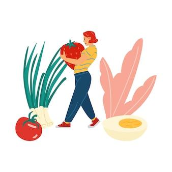 ケトダイエットフラットベクトルイラスト分離のための野菜や食べ物を持つ女性